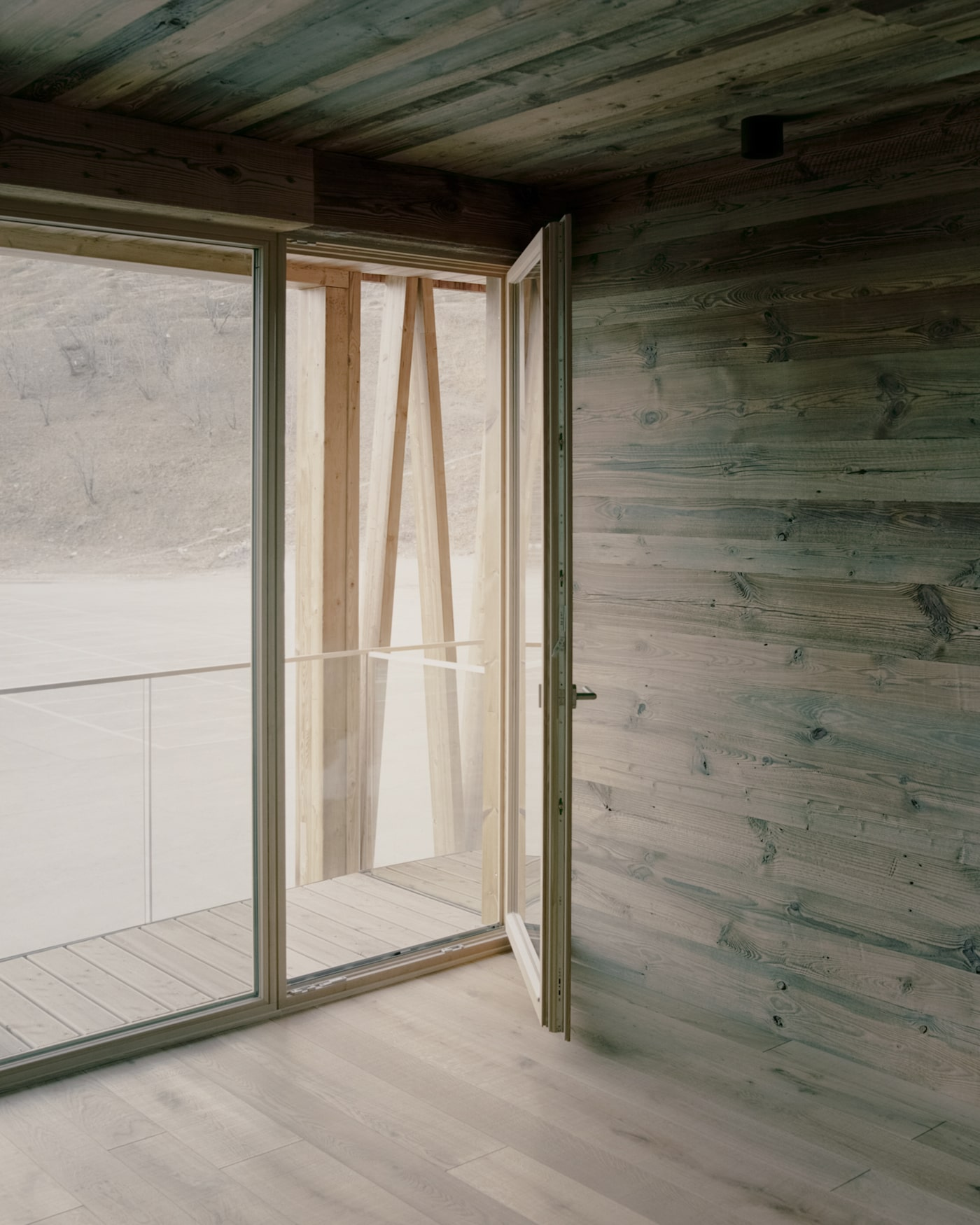 Timber lined walls and ceiling with timber flooring