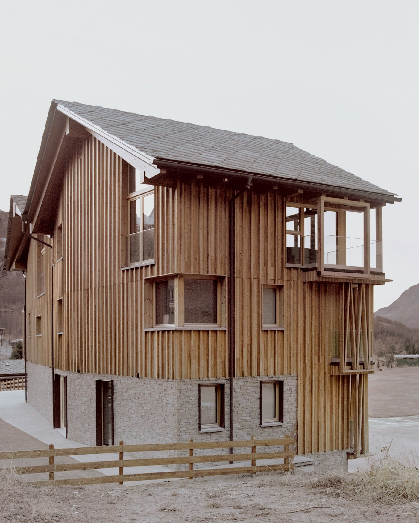 Rear view of prefabricated timber Climbers Refuge