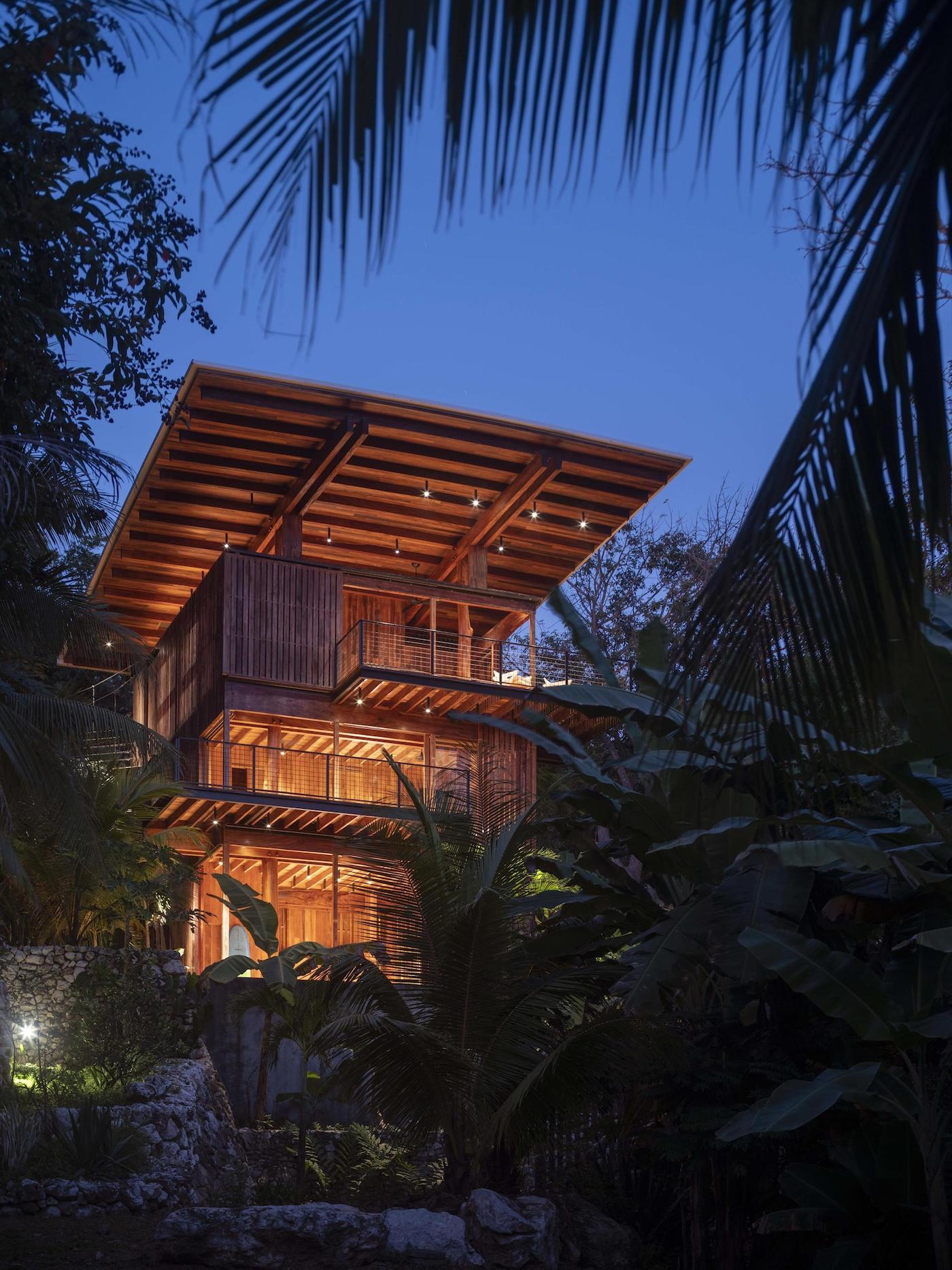 Distant night time view of Costa Rica Treehouse