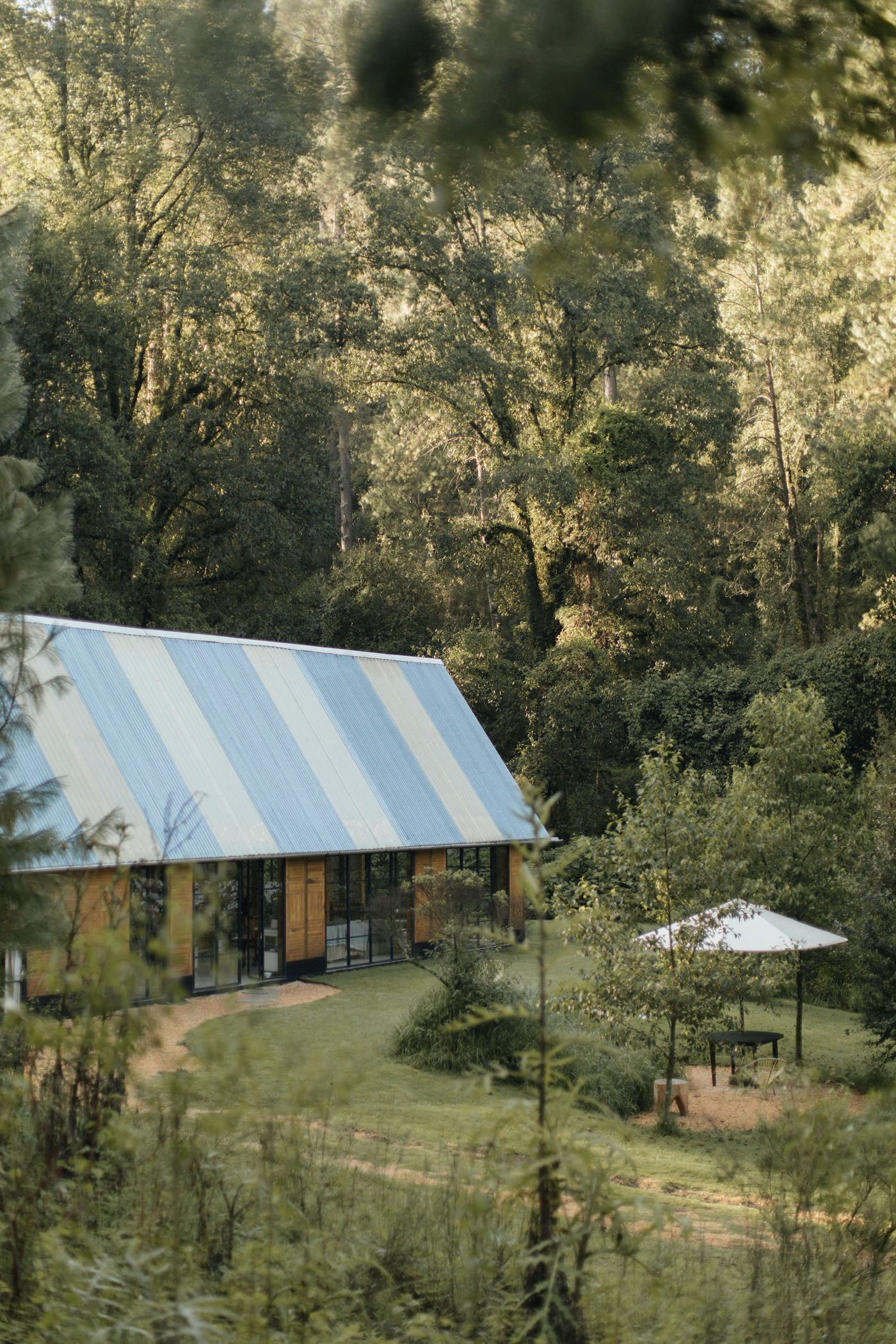 Timber house with pitched roof in bush setting