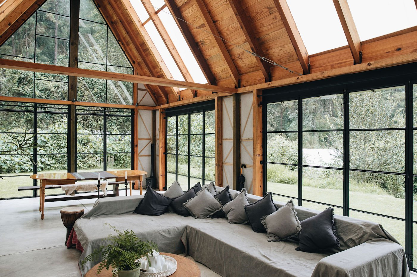 Loungeroom in timber cabin