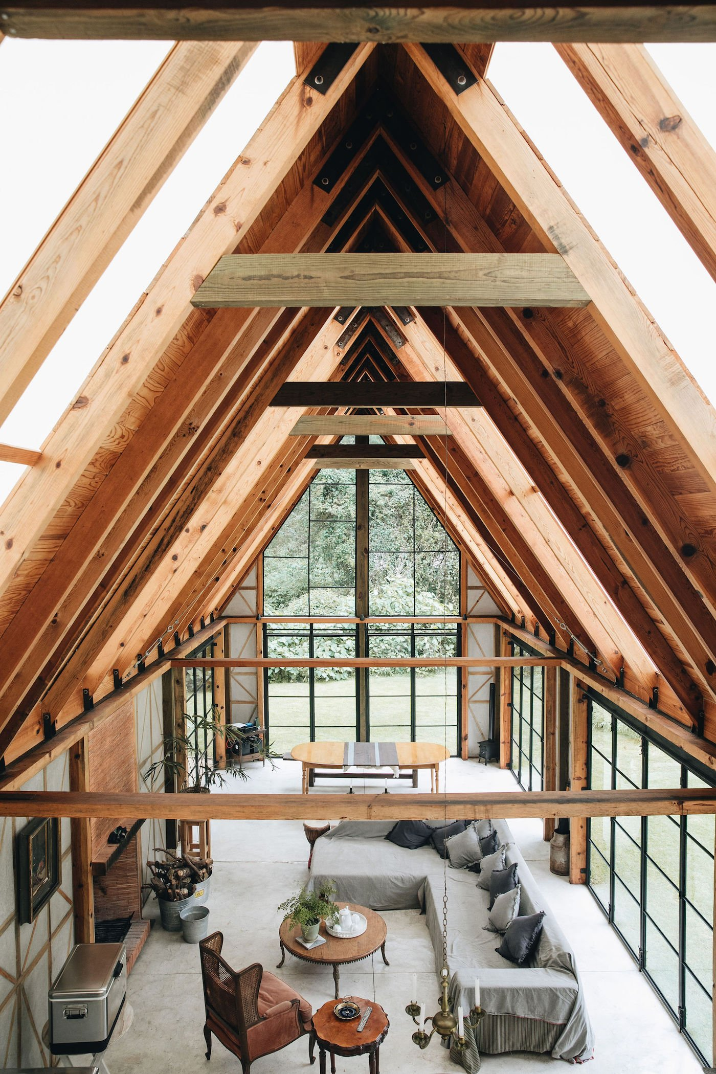 View through timber home with gabled roof