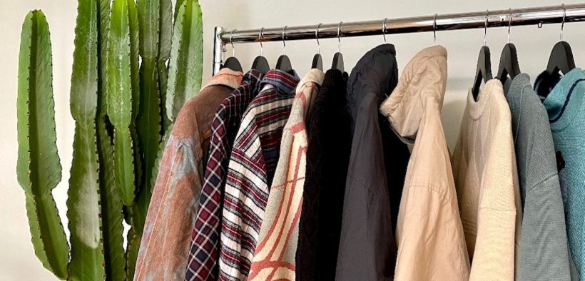 Close up of vegan clothes in Vegan Fashion Library