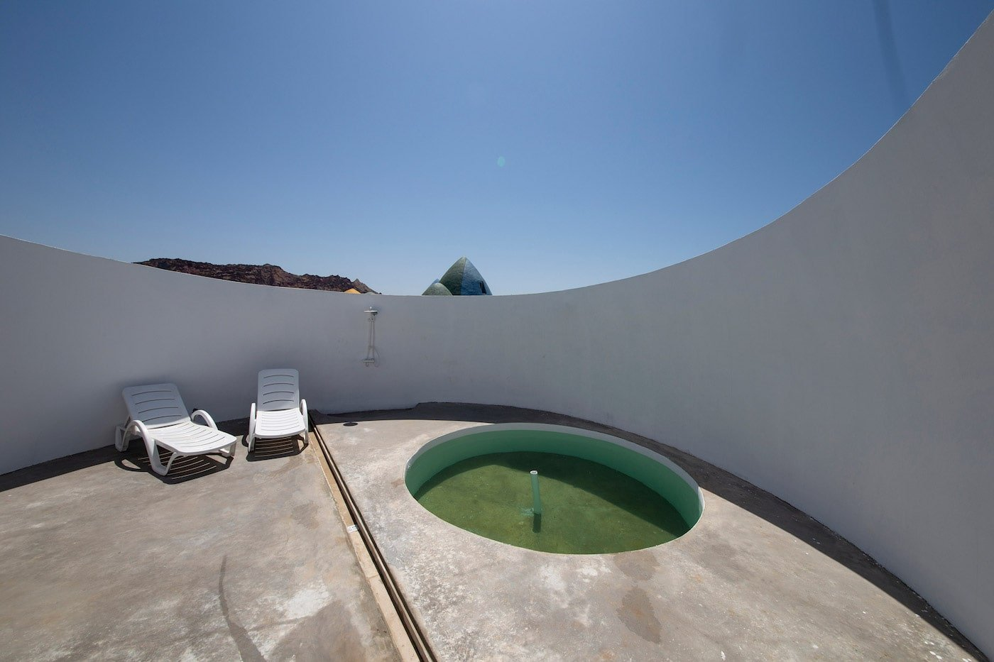 Courtyard inside rammed earth dome