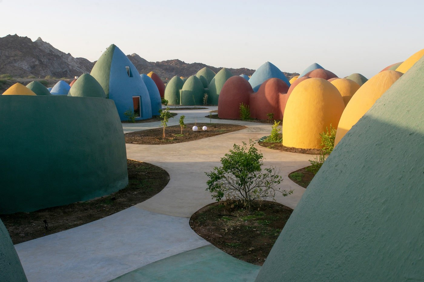 Footpaths and internal courtyard in earth dome community
