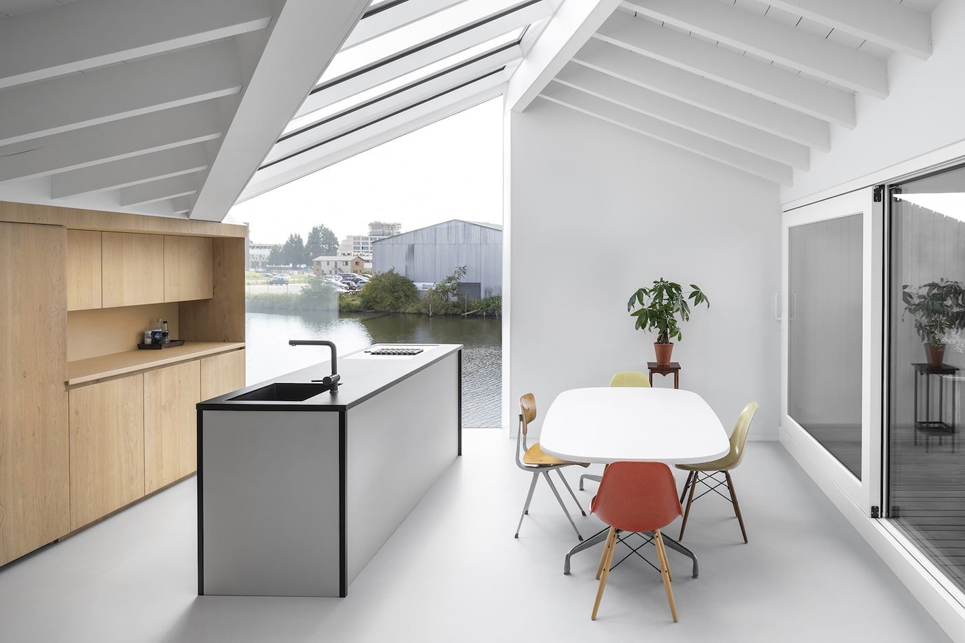 White kitchen with timber cupboards