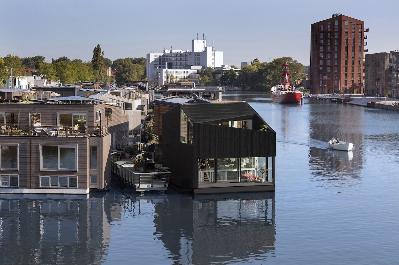 Floating home in sustainable floating village