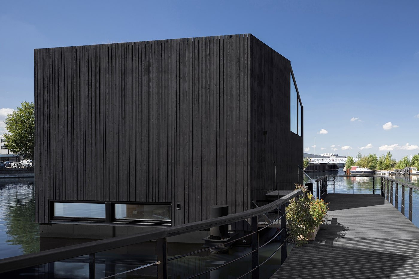 Rear view of floating home