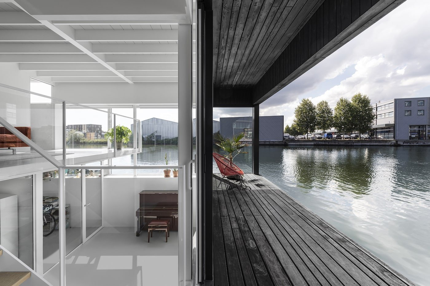 Black timber deck and white interior