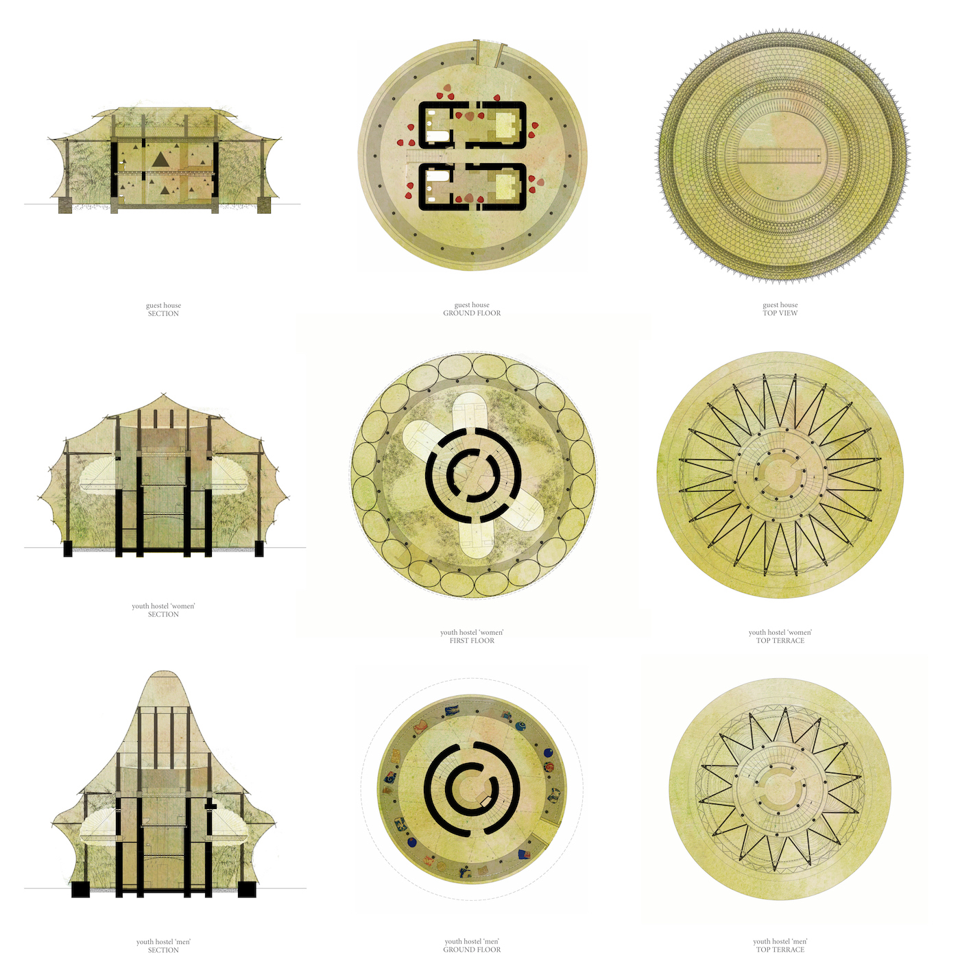Plan and section views of bamboo and rammed earth buildings