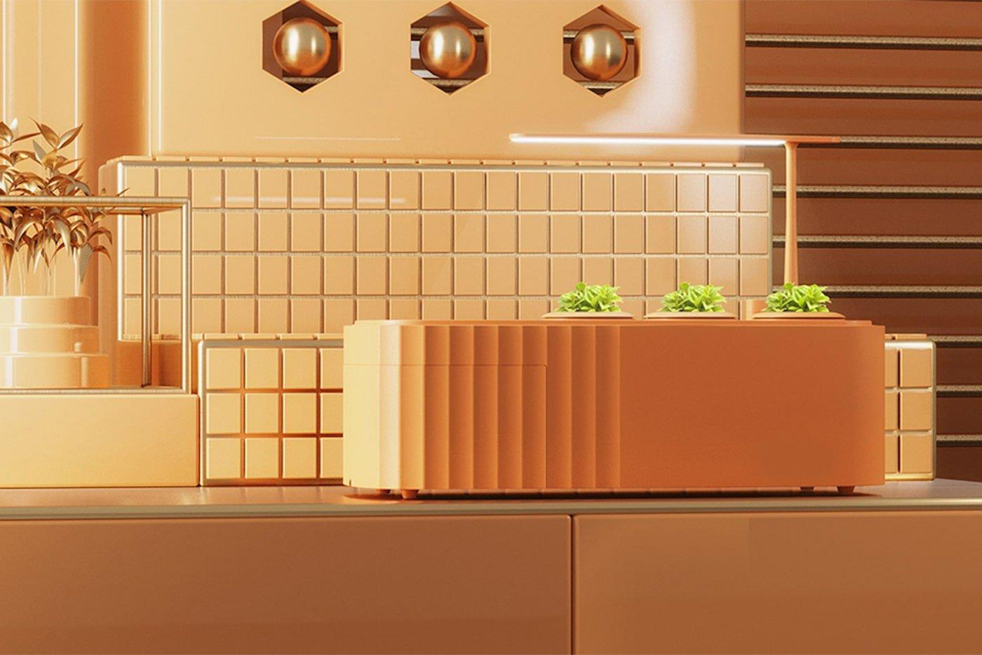 Orange counter top compost unit and garden planter