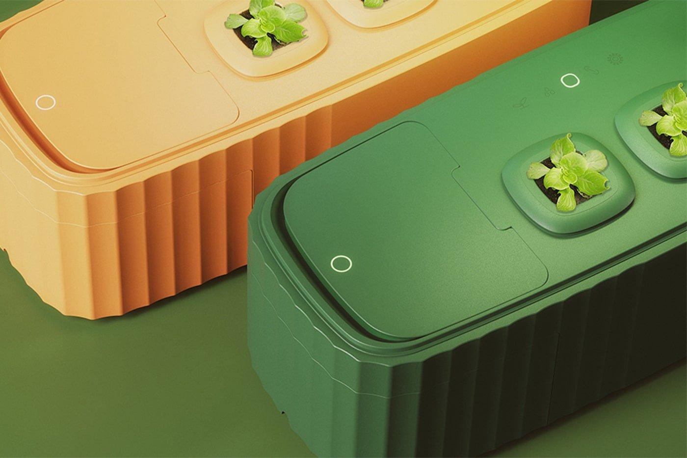 Orange and green counter top compost bin and garden planter
