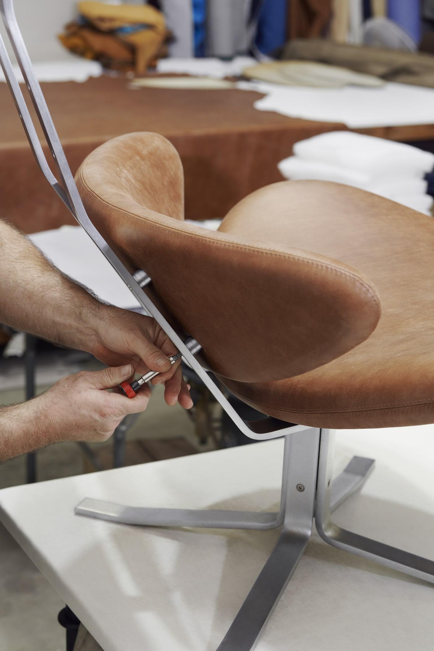 Erik Jorgensen Corona chair being reassembled after restoration