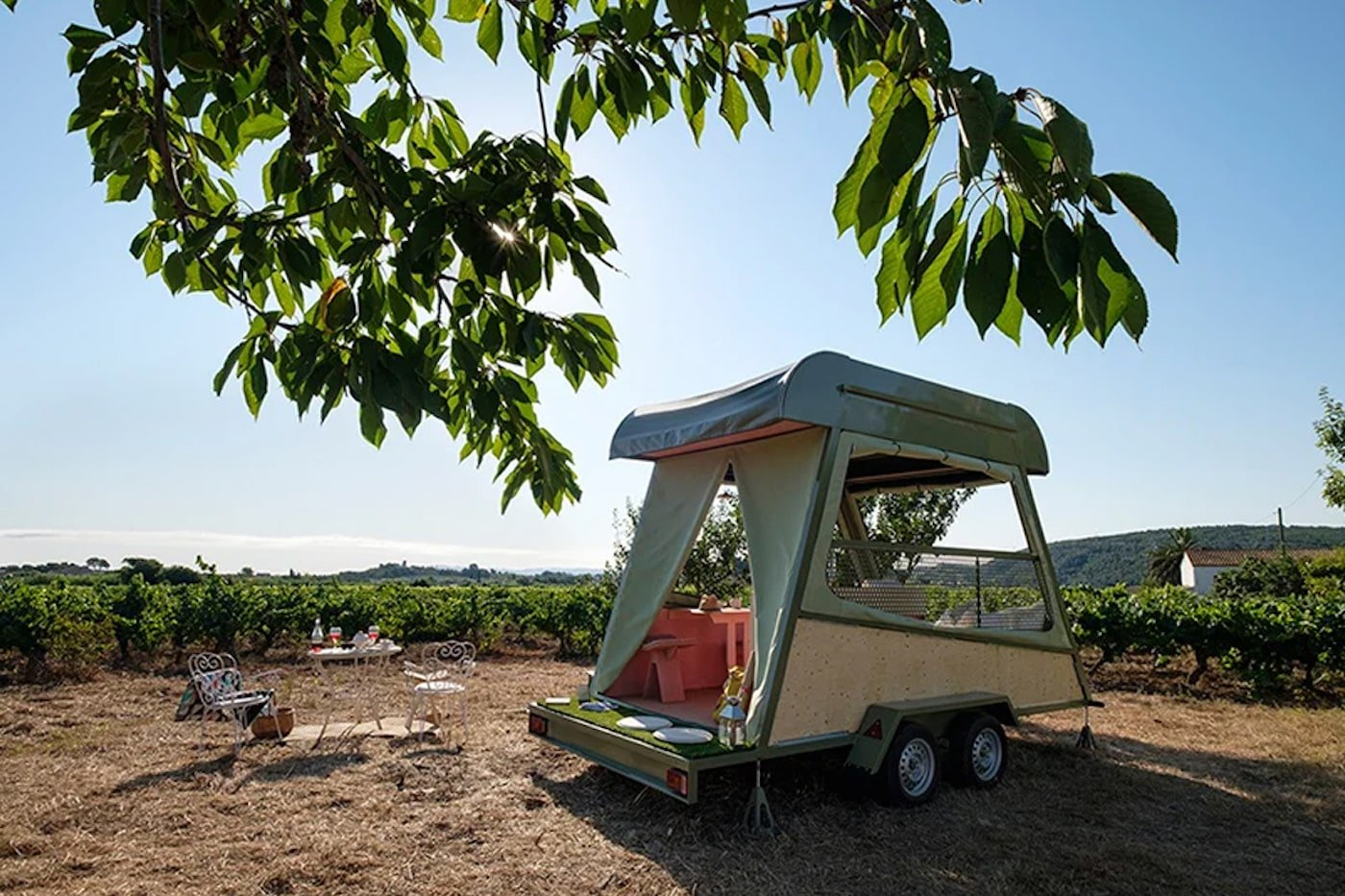 Campervan with a green roof and solar power