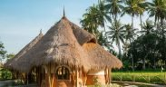 Earth bag building with thatched roof