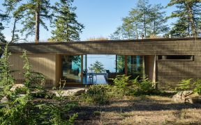 Exterior timber sustainable home on island