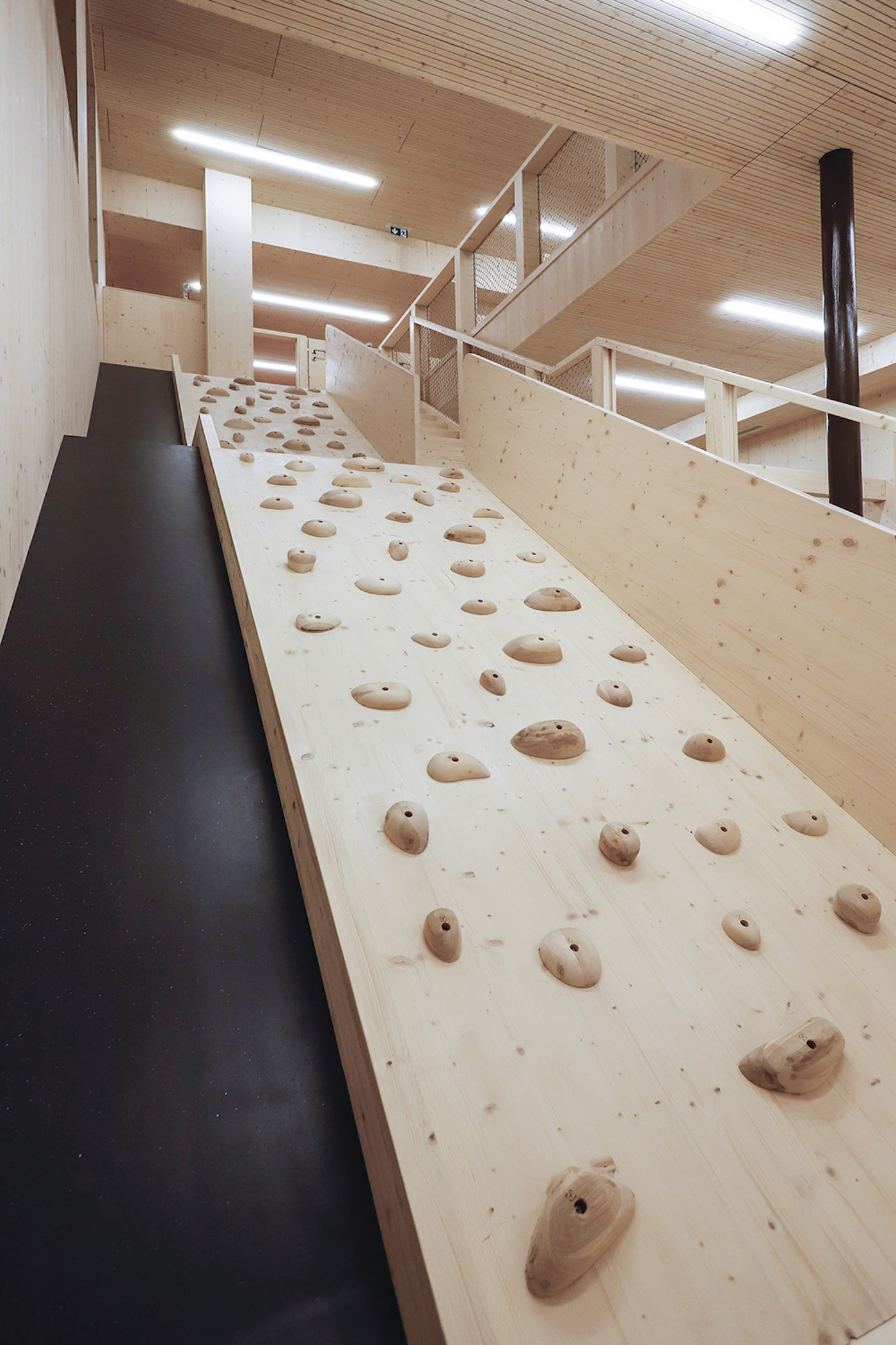 Climbing wall in sustainable childcare centre