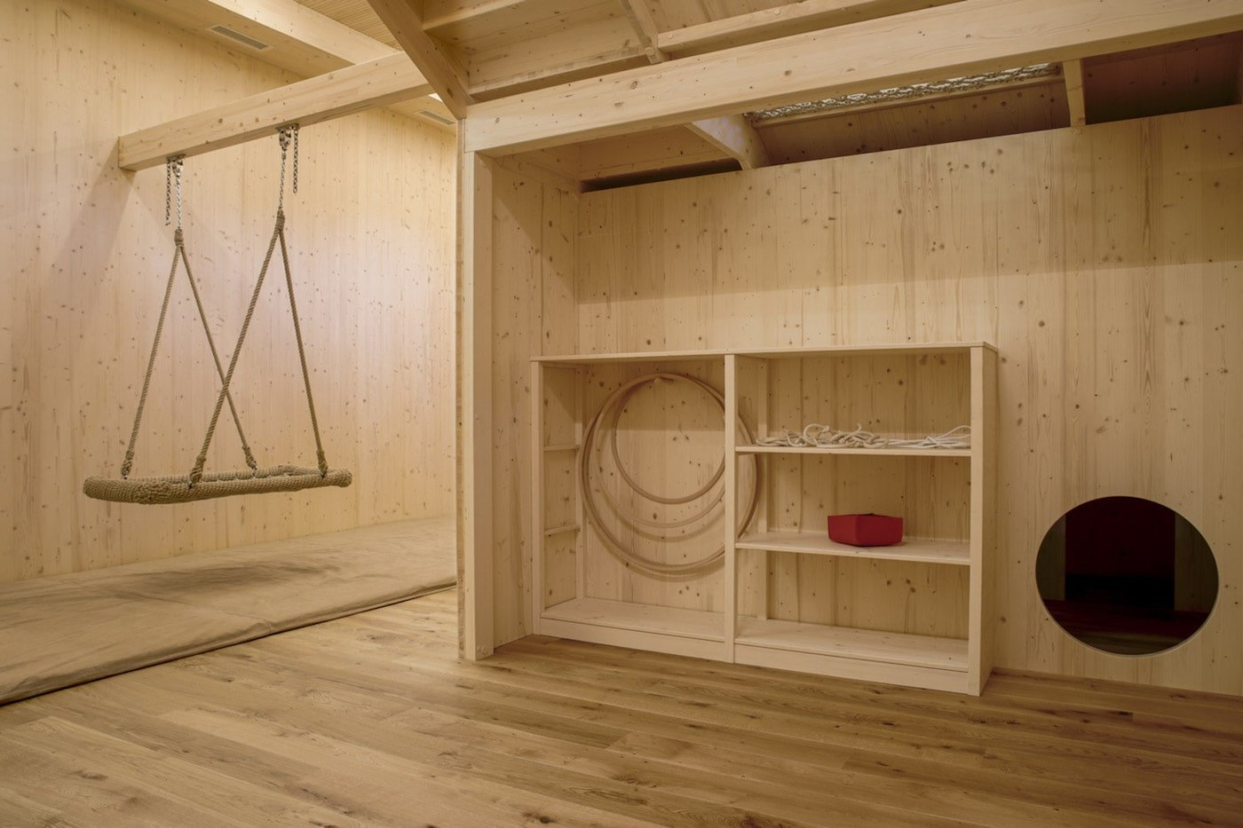 All timber playroom in eco childcare centre