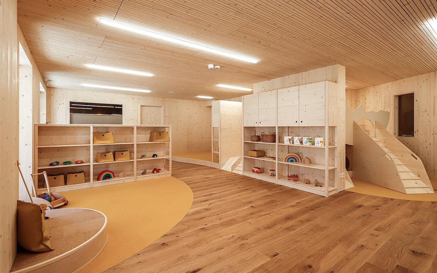 All natural childcare centre playroom