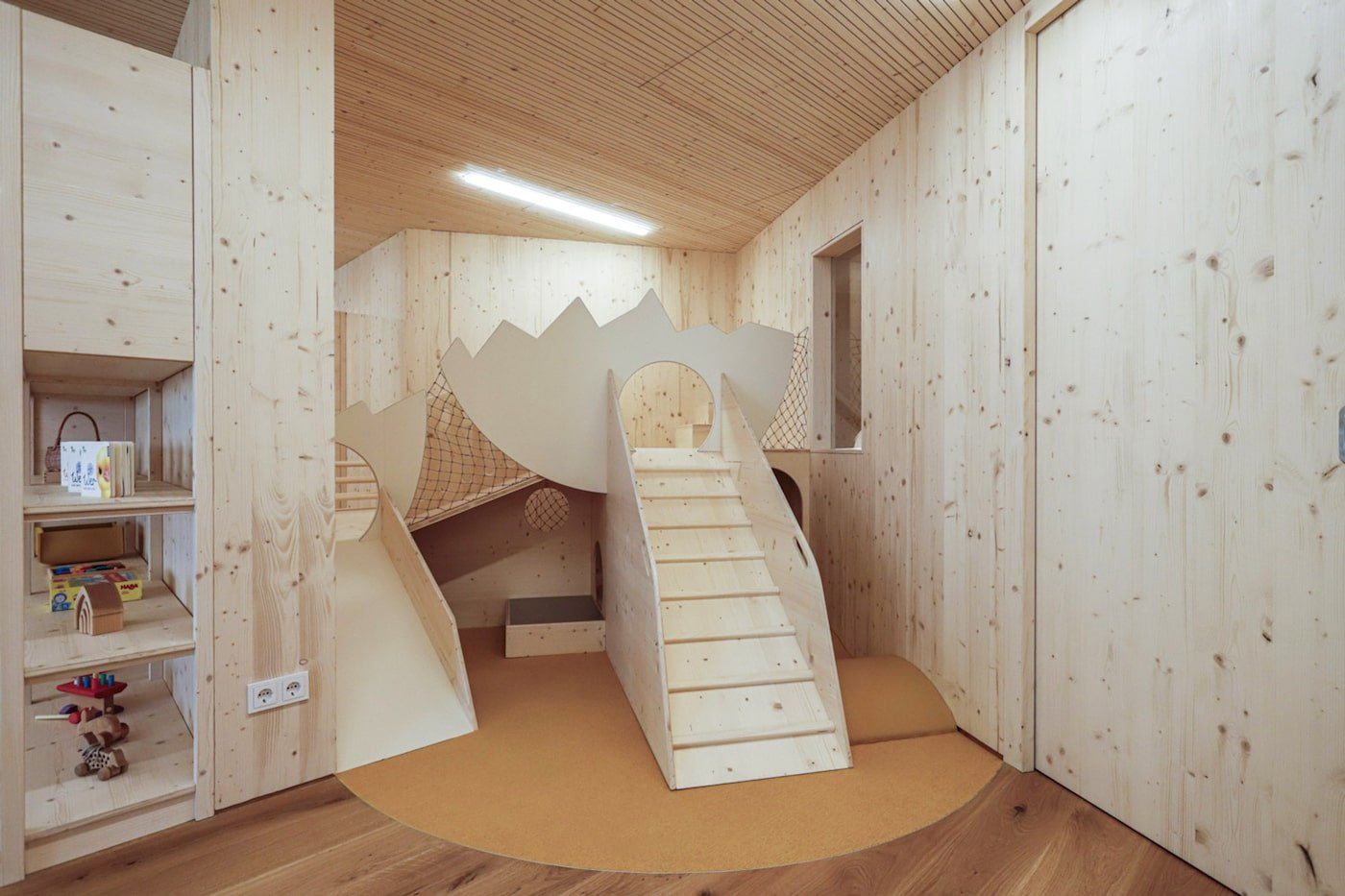 Timber limbing equipment in sustainable childcare centre