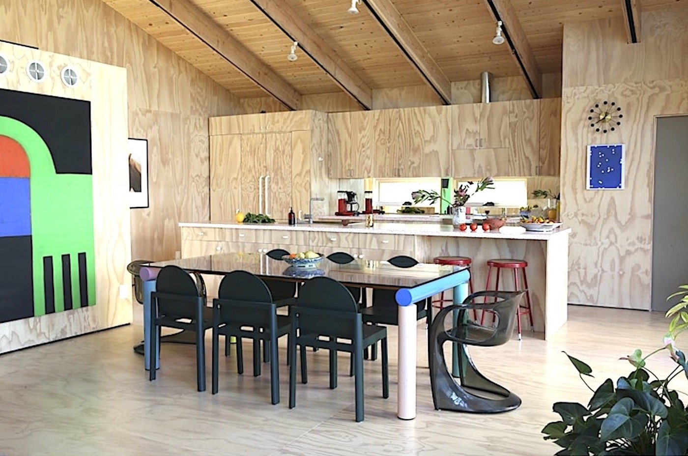 Timber kitchen with timber flooring, walls and ceiling