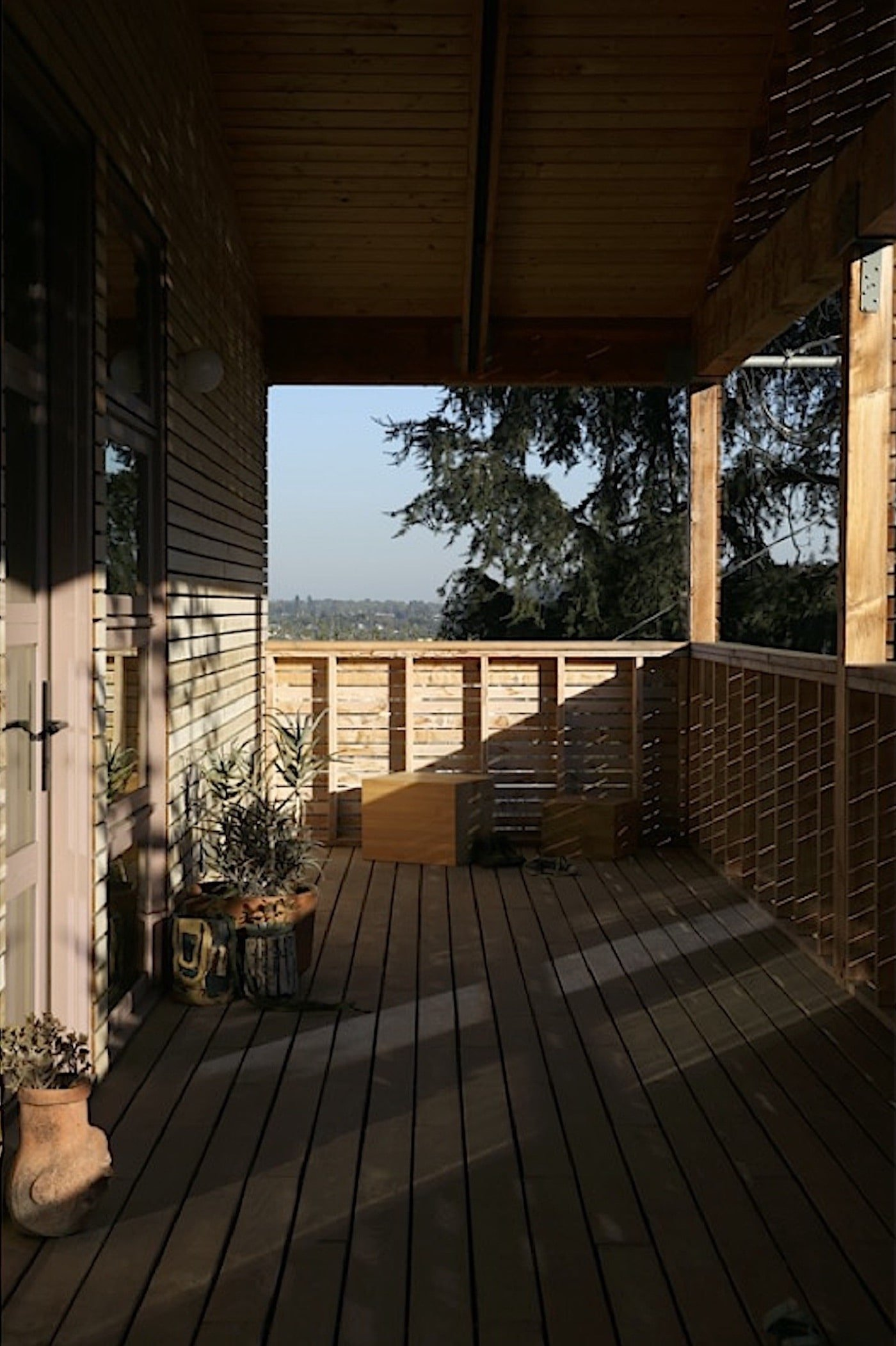 Timber deck with views towards the mountains