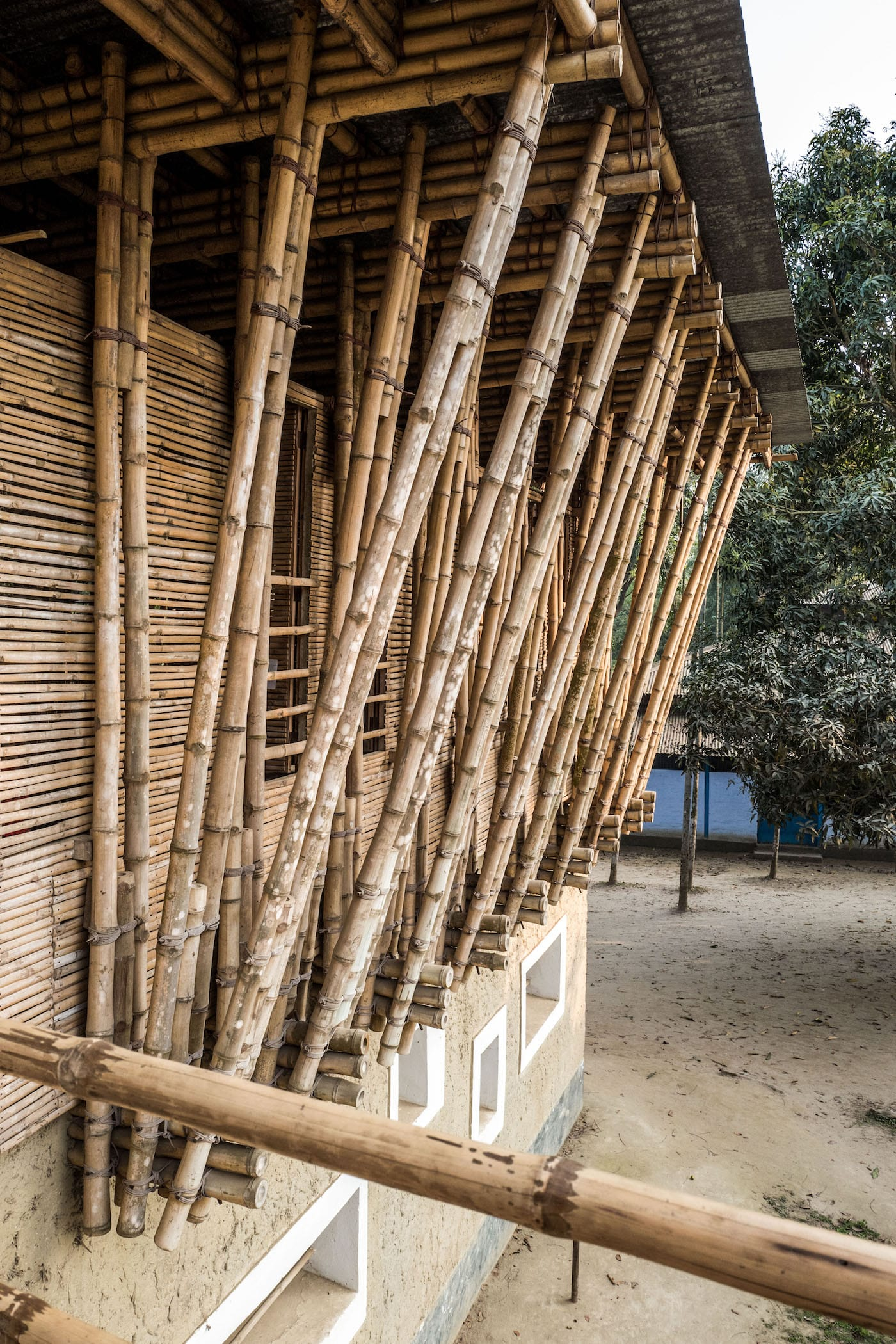 View of bamboo structure at METI School in Bangladesh by Anna Heringer