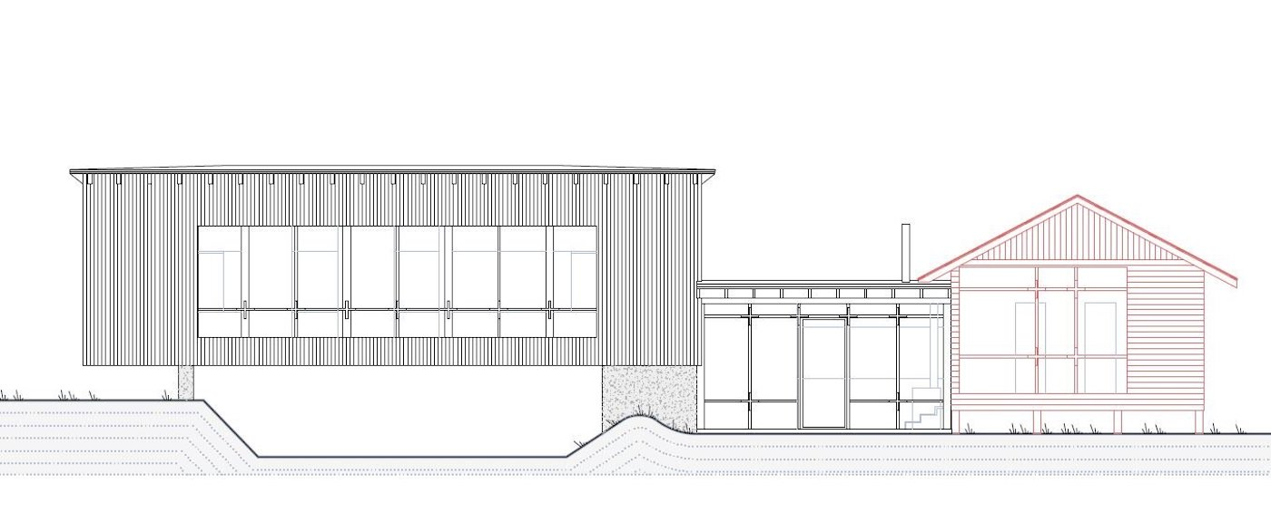 Front elevation of Bridge House by NOMAD Architects