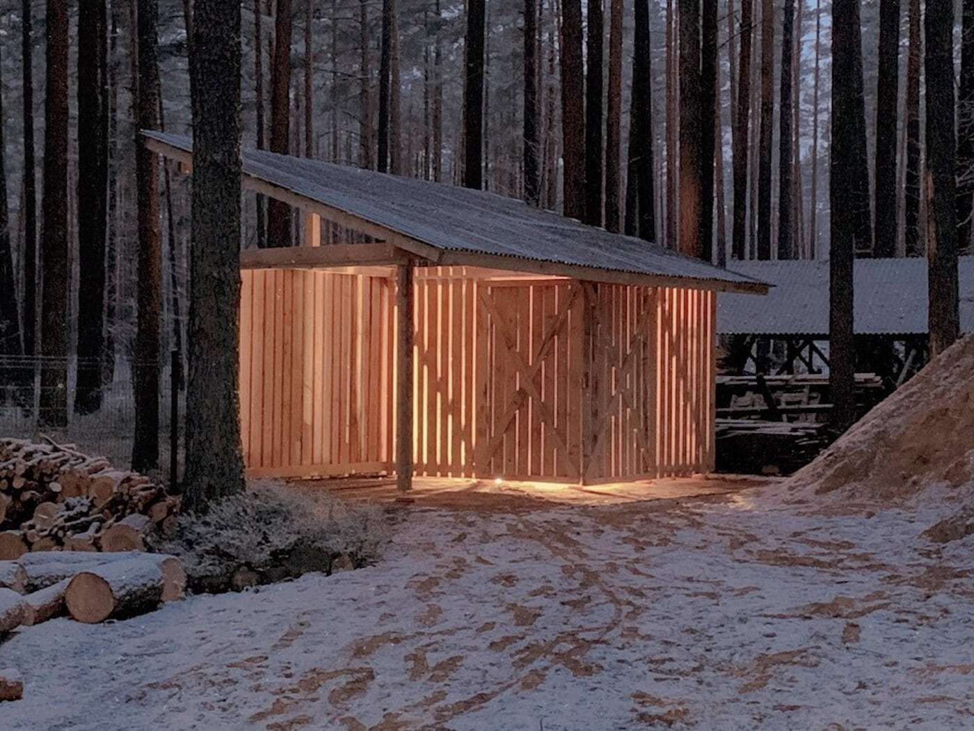Timber shed in a forest illuminated at dusk