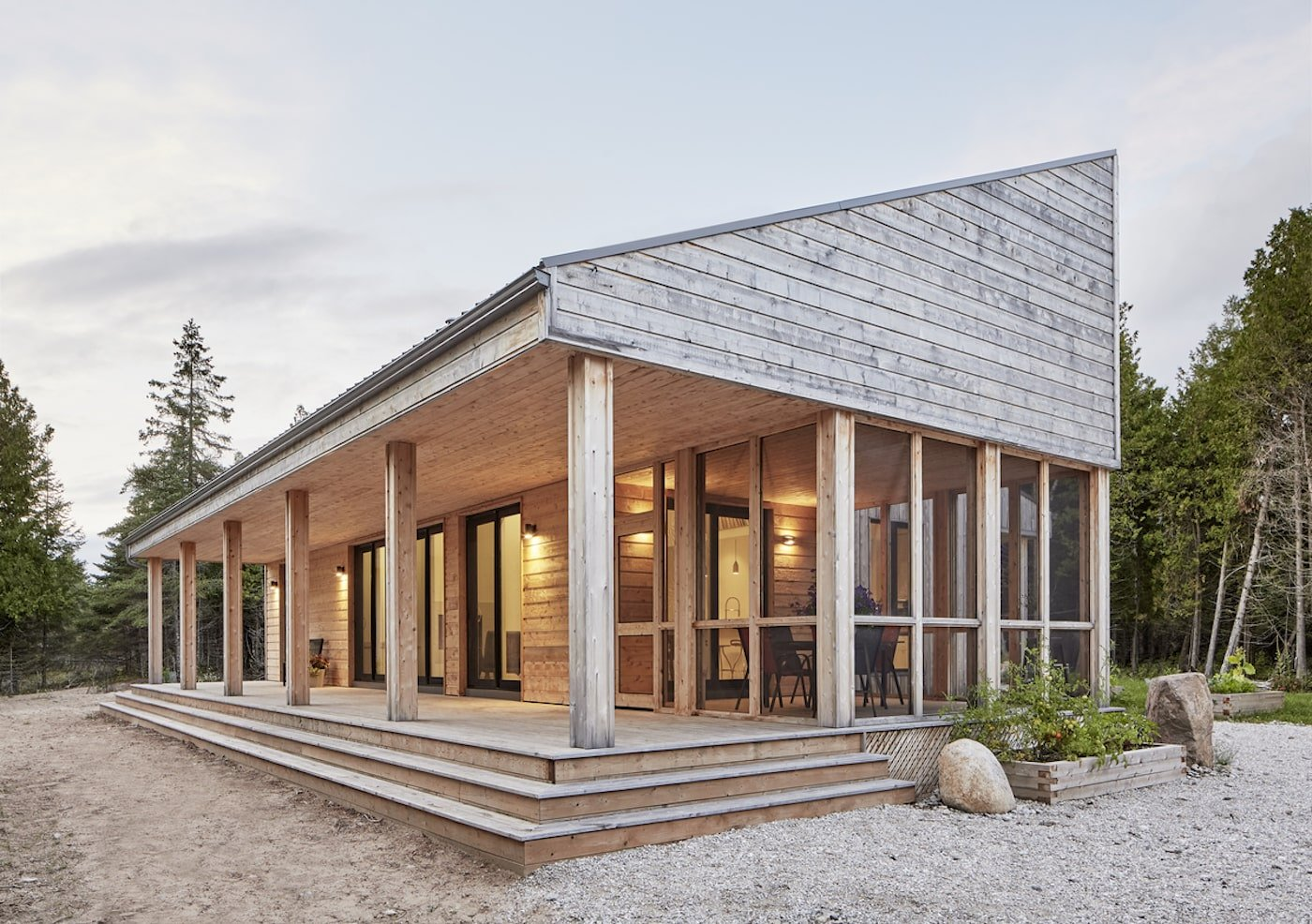 Island off-grid home with timber facade