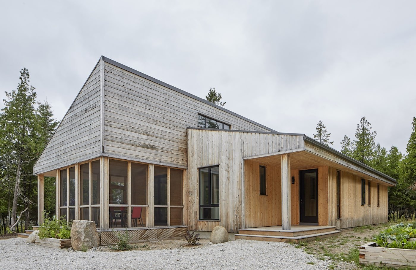 Entry way of timber clad eco off-grid hom