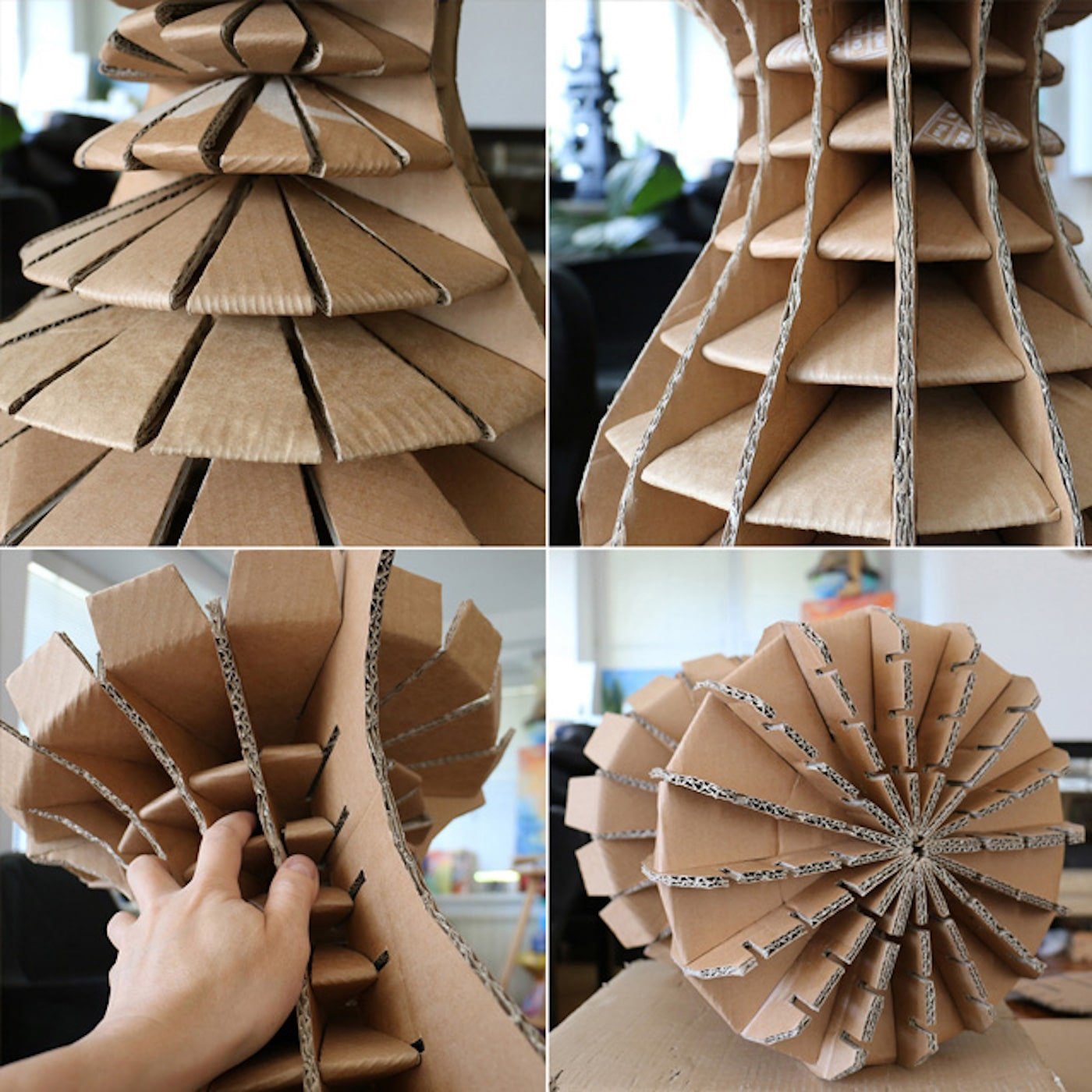 Round stool being handmade from recycled cardboard