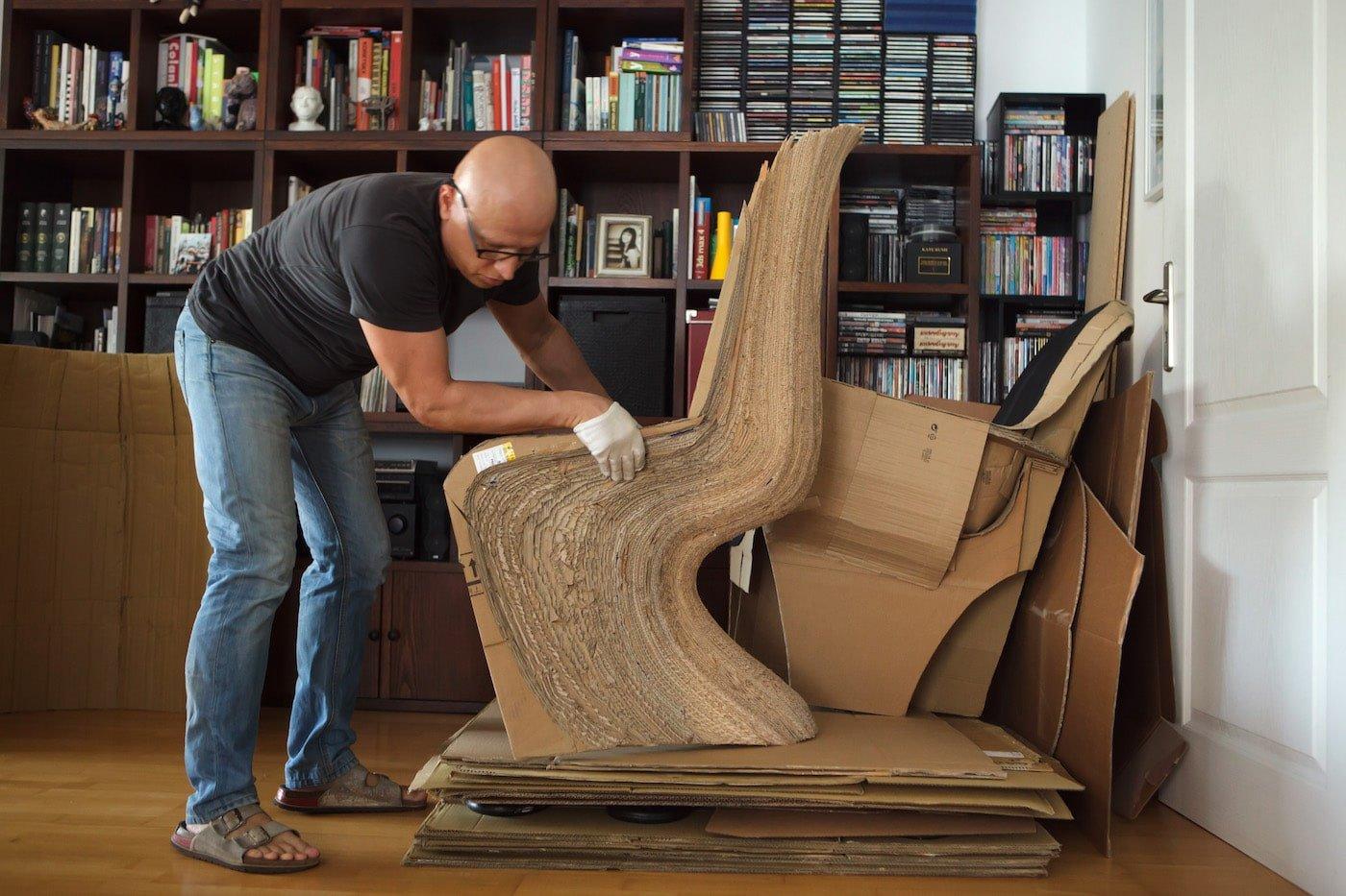 Vadim Kibardin layering cardboard to create chair
