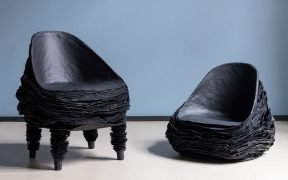 Black chair made from recycled cardboard