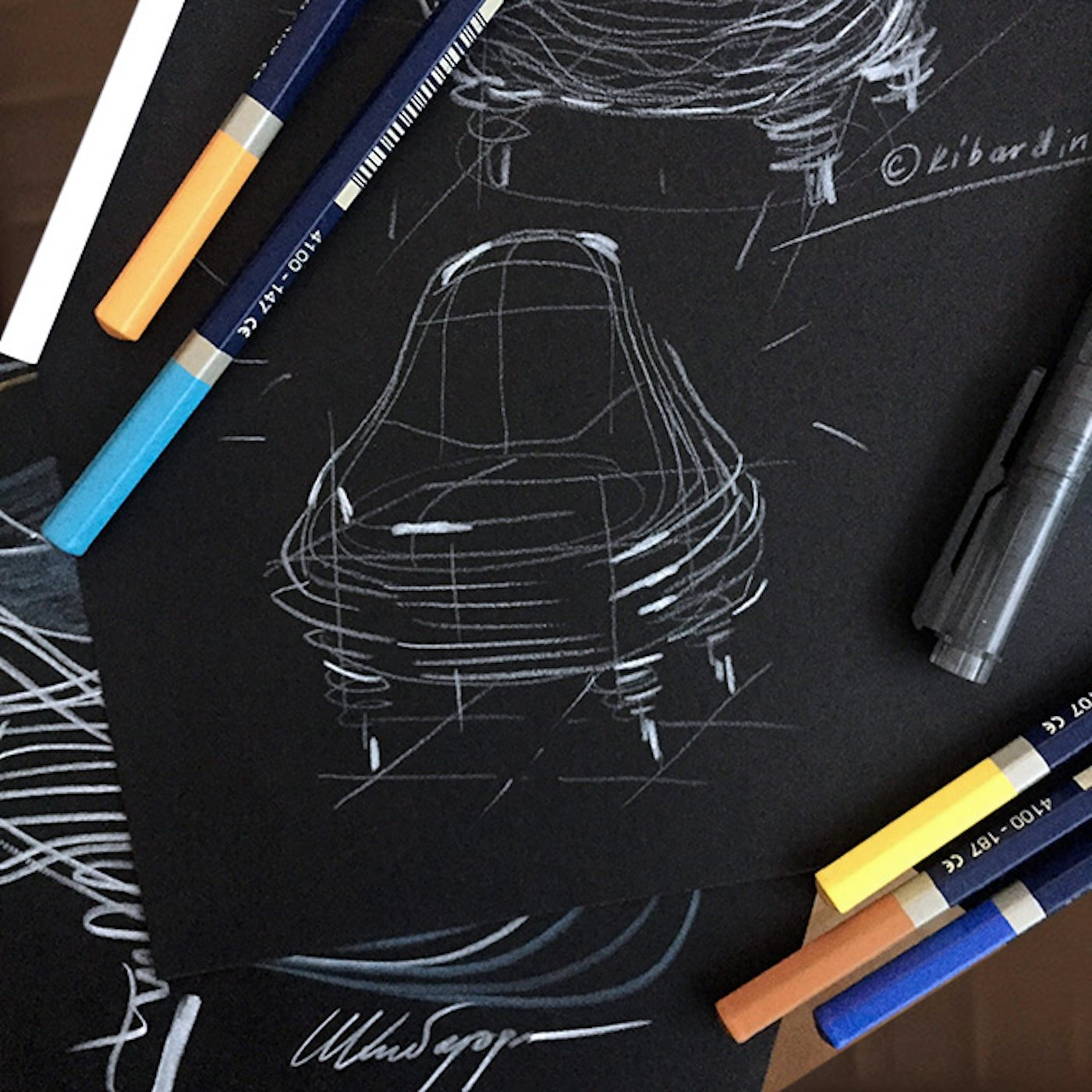 Handsketches of paper art chair by Vadim Kibardin