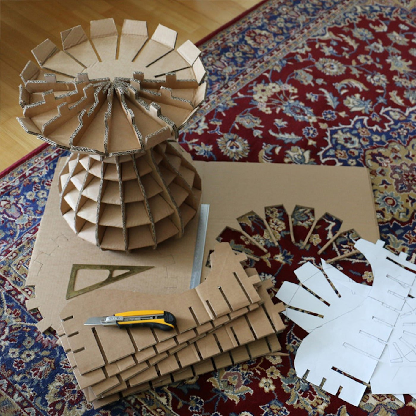 Stool made from recycled cardboard