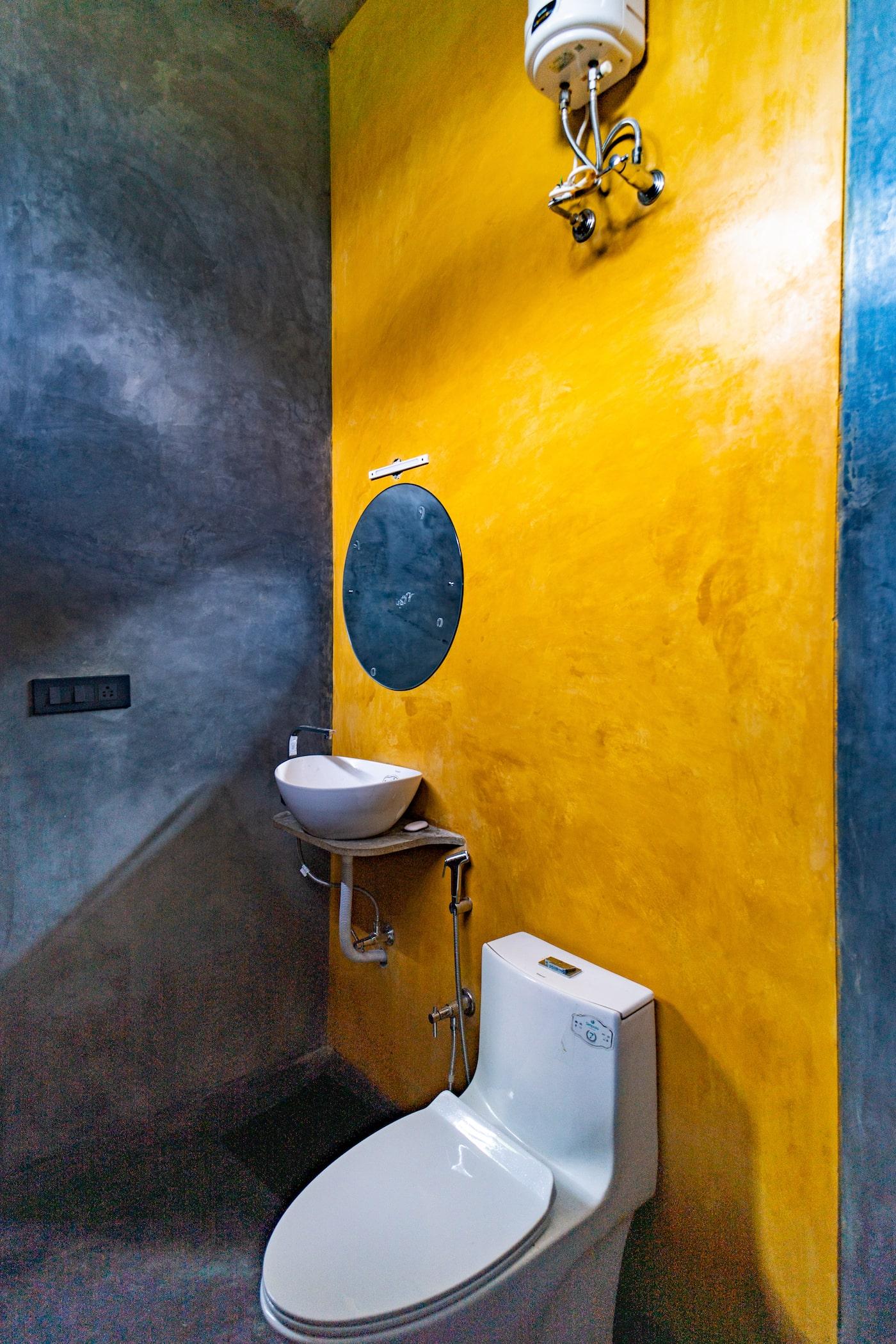 Concrete walls in bathroom
