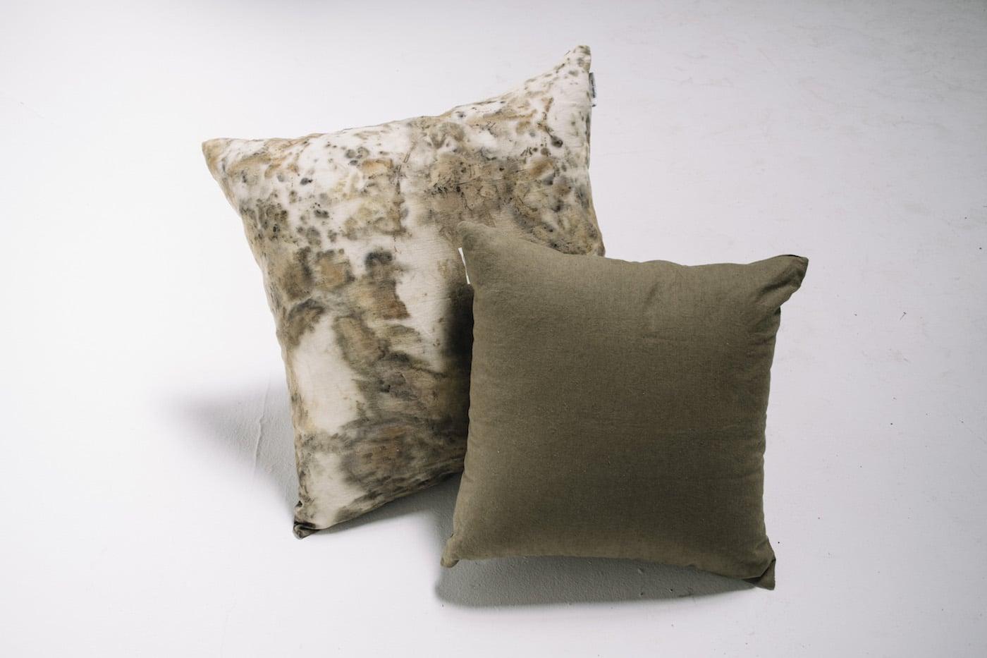 Weft Textiles sage colour cushions