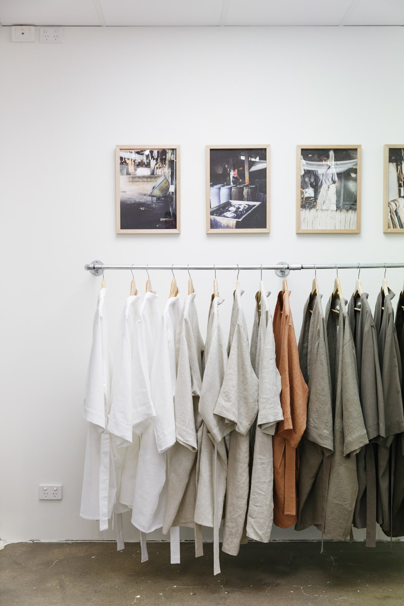 Rack of Weft Textiles clothing in store