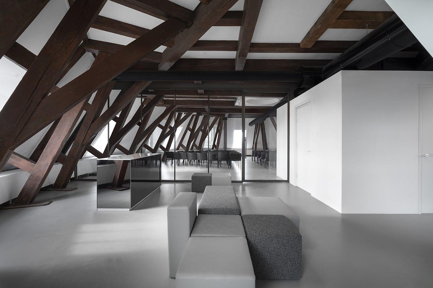 Exposed timber ceiling trusses in Felix Meritis