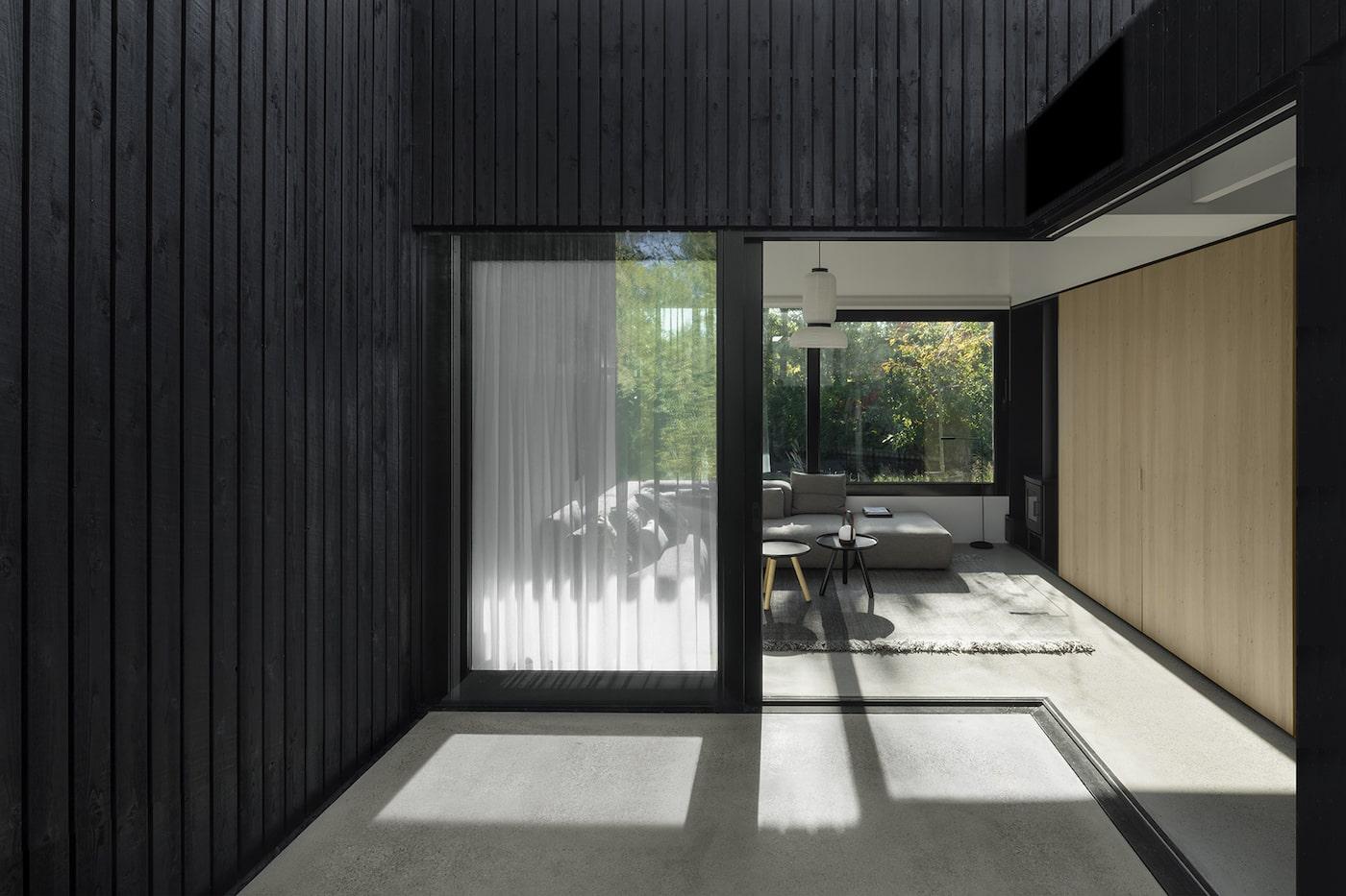 Courtyard looking towards timber kitchen