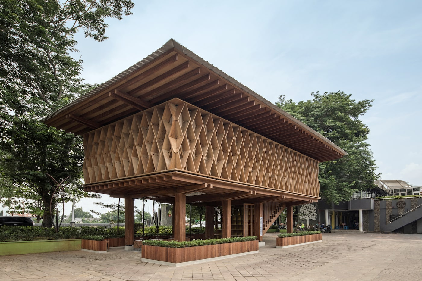 External view of timber library with overhanging eaves