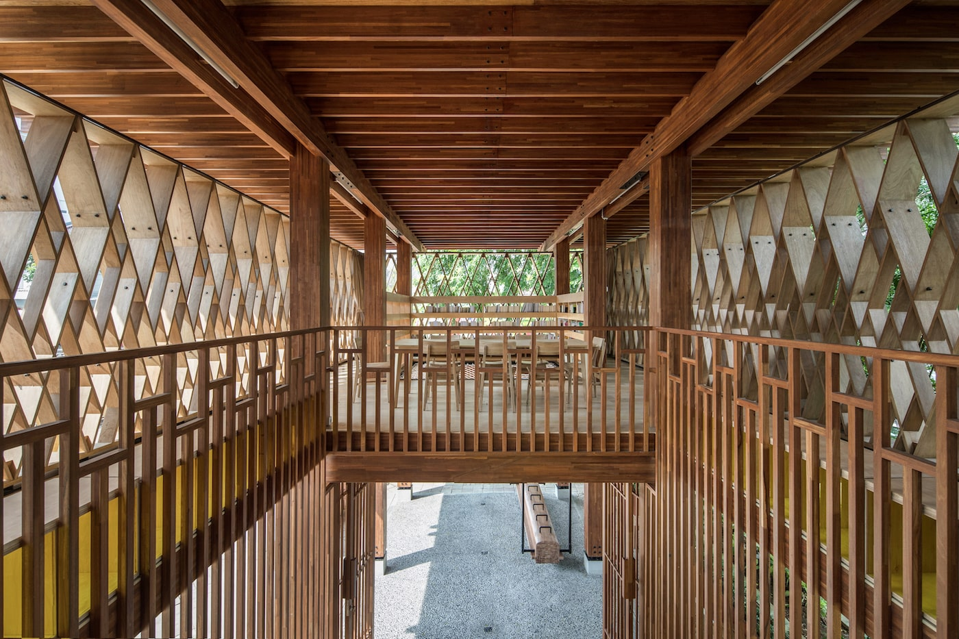 Timber walkway in timber building
