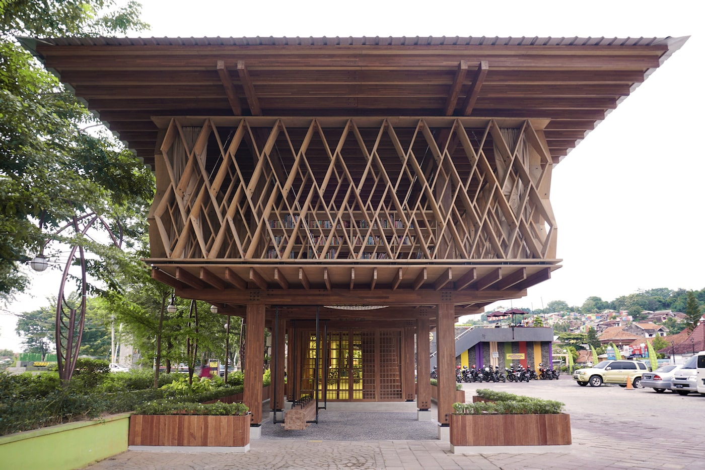 Exterior end view of timber library with timber brise soliel