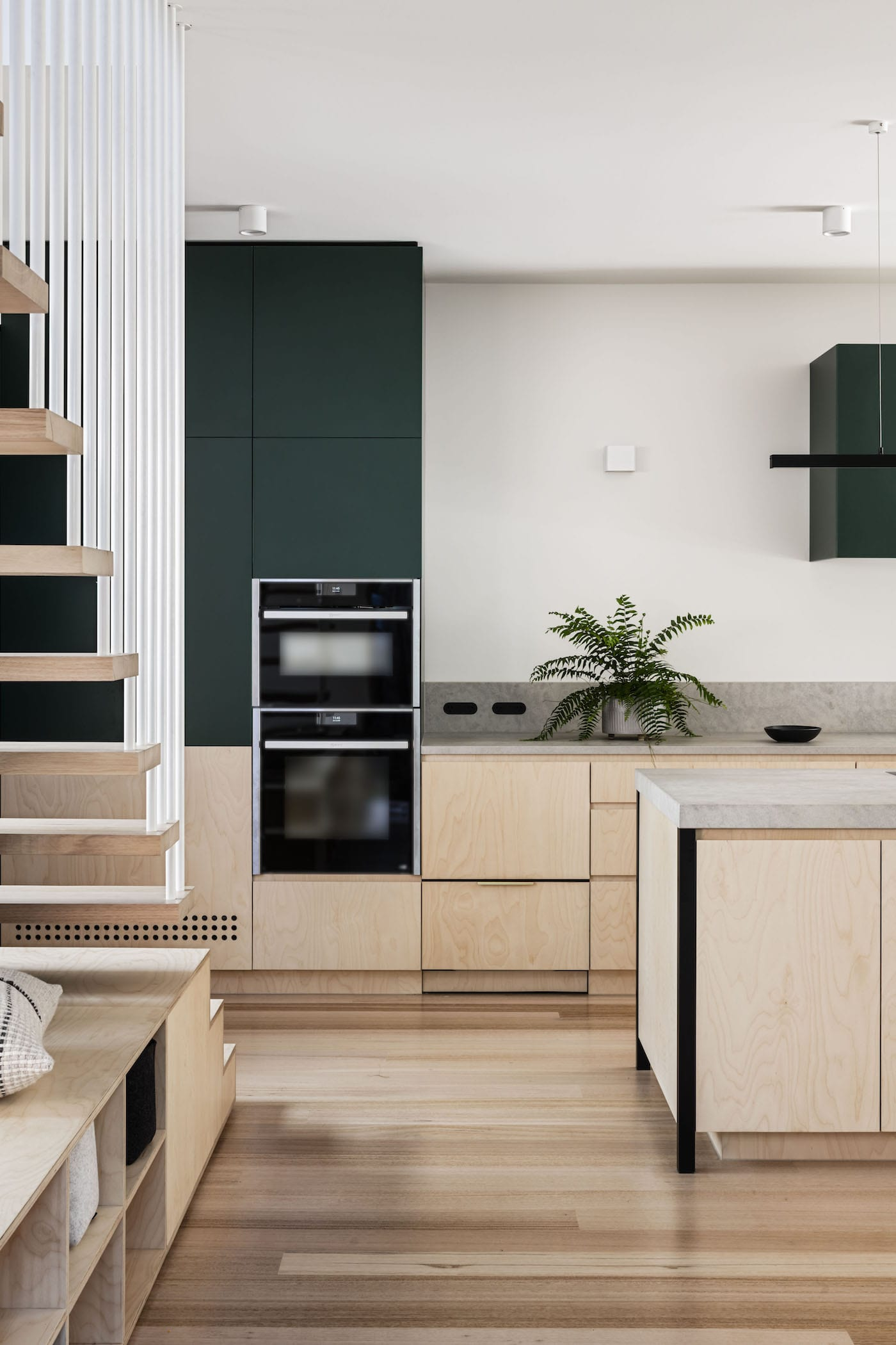 Birch plywood kitchen with timber flooring