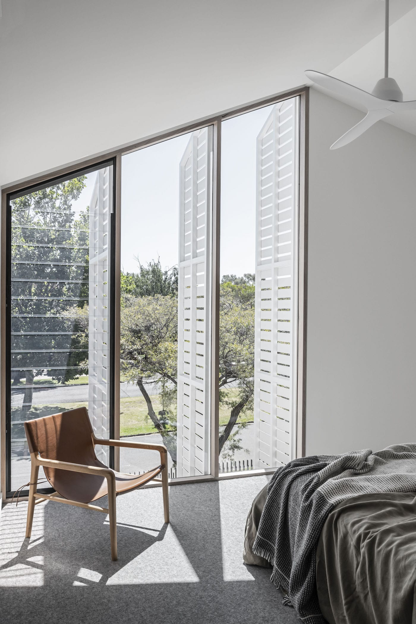 Bedroom with operable timber screens open