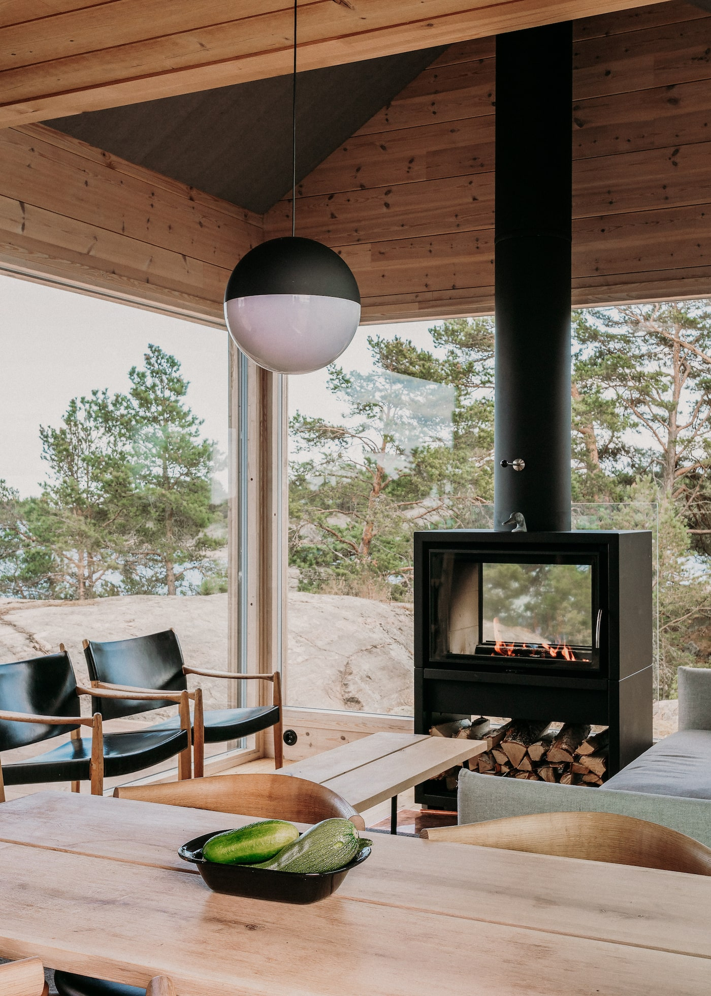 Wood fired heater in timber loungeroom