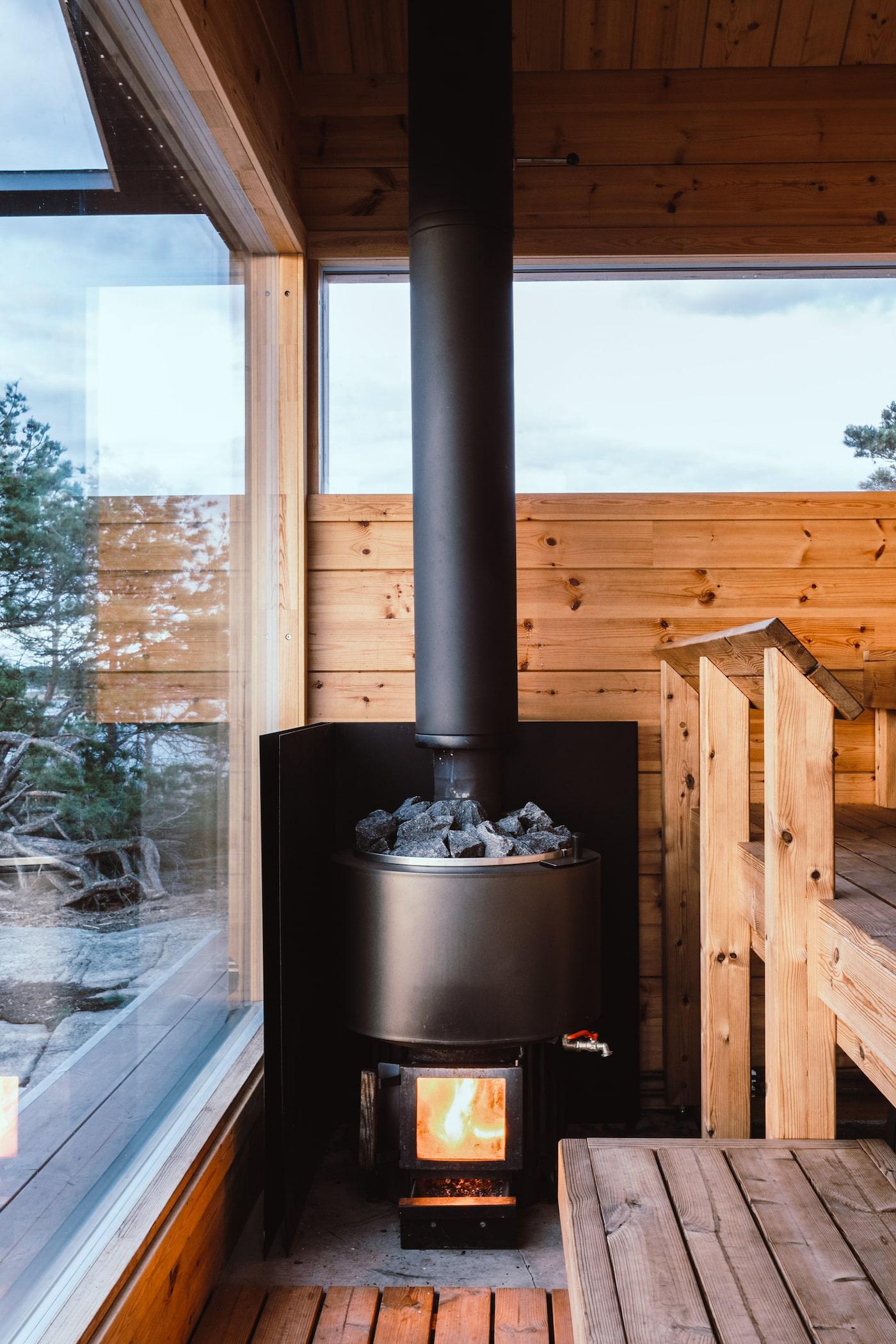Wood fire in sauna