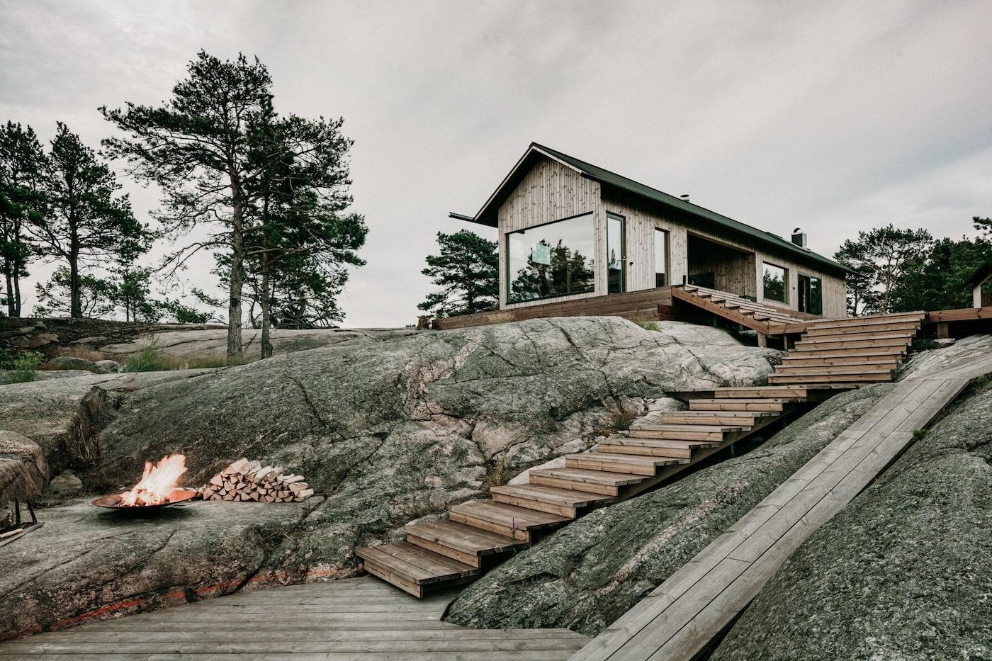 Looking up towards off-grid island cabin