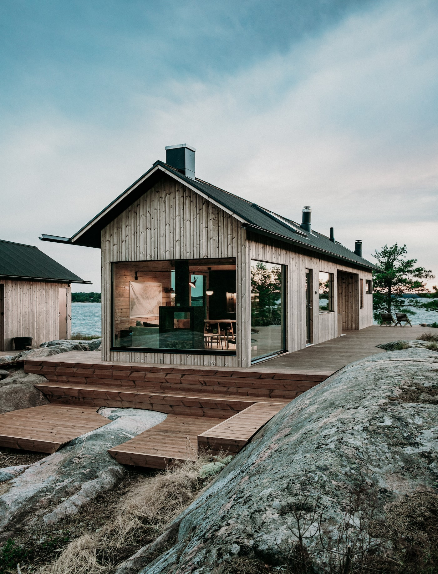 Timber off-grid island cabin
